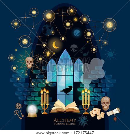 Medieval alchemical laboratory. Vintage key magic objects and scrolls alchemy concept. Open book of spells skull occult and esoteric. Fortune telling Crystal Ball medieval castle wizard