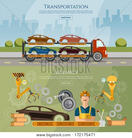 Car assembly line banner conveyor belt operator automotive industry сar transport truck vector illustration
