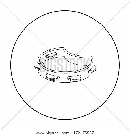 Tambourine icon in outline style isolated on white background. Musical instruments symbol vector illustration