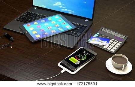 Laptop Tablet PC smart phone with wireless charger cup of coffee at the office workplace (3d illustration).