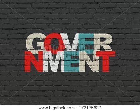 Political concept: Painted multicolor text Government on Black Brick wall background