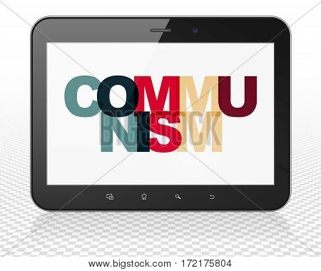 Politics concept: Tablet Pc Computer with Painted multicolor text Communism on display, 3D rendering