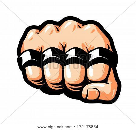 Clenched fist, knuckle duster. Gangster, thug, bandit symbol. Cartoon vector illustration isolated on white background