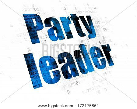 Political concept: Pixelated blue text Party Leader on Digital background
