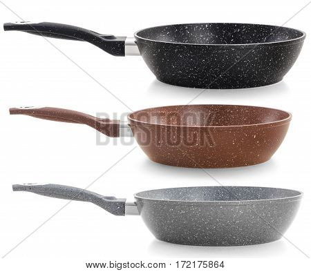 Set of three frying pans with a nonstick coating isolated on white background.