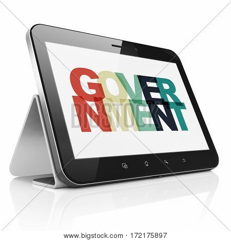 Politics concept: Tablet Computer with Painted multicolor text Government on display, 3D rendering