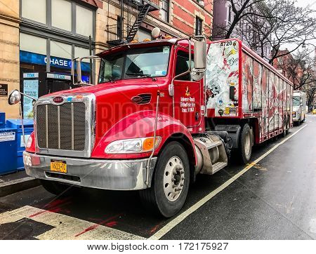 New York February 8 2017: A Budweiser beer delivery truck is parked on Columbus Avenue in Manhattan.