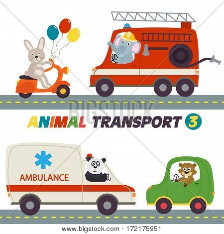 set of isolated transports with animals part 3 - vector illustration, eps