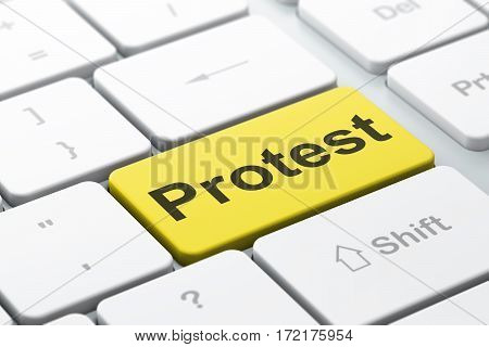 Politics concept: computer keyboard with word Protest, selected focus on enter button background, 3D rendering