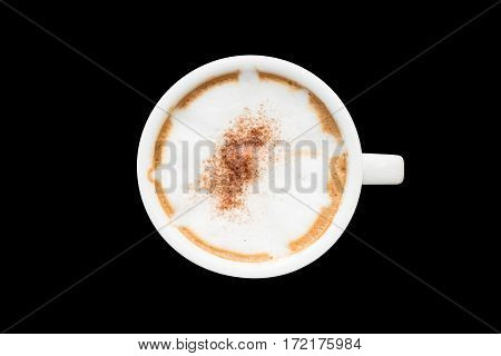 Redolent cappuccino coffee isolated on black background.