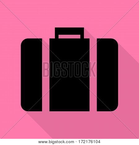 Briefcase sign illustration. Black icon with flat style shadow path on pink background.