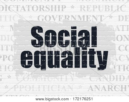 Politics concept: Painted black text Social Equality on White Brick wall background with  Tag Cloud