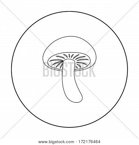Shiitake icon in outline style isolated on white background. Mushroom symbol vector illustration.