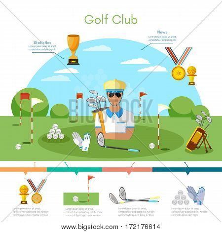 Golf sports championship infographic elements playing golf game