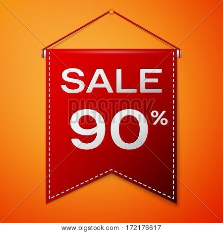 Red pennant with inscription sale ninety percent Discounts over a orange background. Sale concept for shops store market, web and other commerce. Vector illustration.