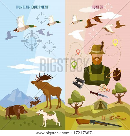 Hunting sport banners hunter with rifle and dog in forest duck hunting ammunition binoculars hunting knife vector