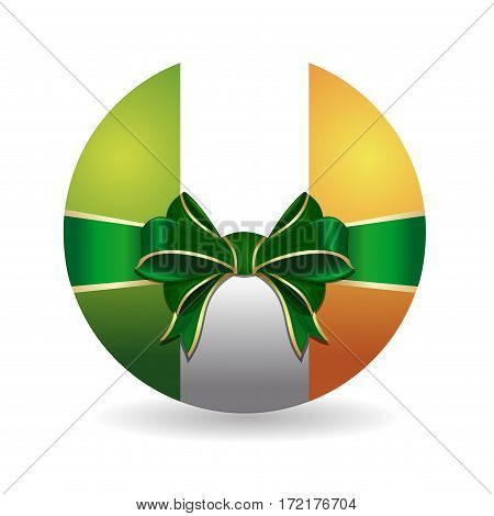 Bowl painted in the colors of the Irish flag tied with green ribbon with a bow. Realistic icon keychain with an Irish flag isolated on white background. Vector illustration