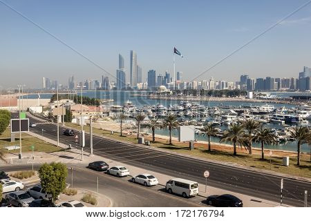 Elevated view over the Abu Dhabi marina. United Arab Emirates Middle East