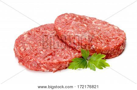 Uncooked beef hamburger meat on white background