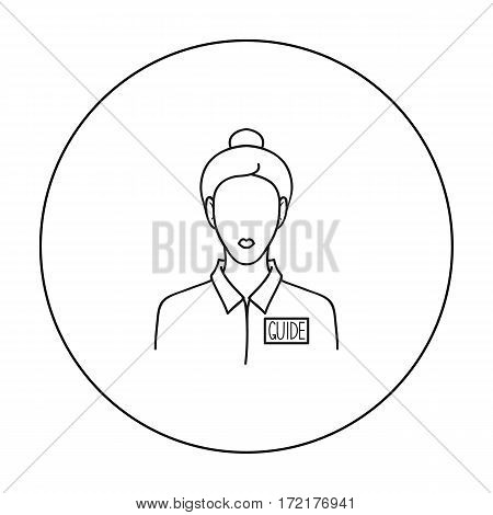 Museum guide icon in outline style isolated on white background. Museum symbol vector illustration.