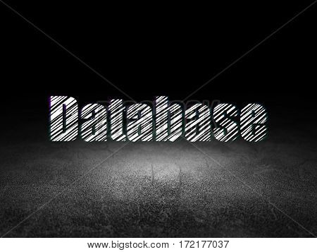 Programming concept: Glowing text Database in grunge dark room with Dirty Floor, black background