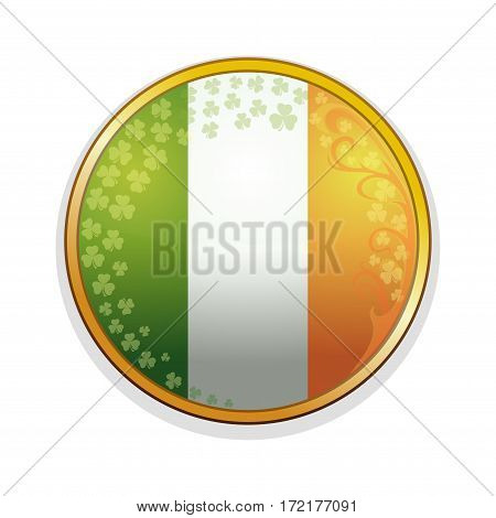 Irish flag in a golden frame decorated with leaves of clover and design elements. Clover leaves and Irish flag. Round medallion with Irish flag inside. Vector illustration