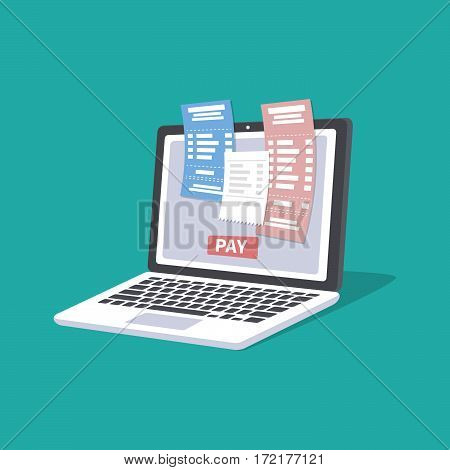 Concept of pay bills tax accounts online via computer or laptop. Online payment service. Laptop with checks and invoices on the screen. Pay button. Vector illustration isolated. poster