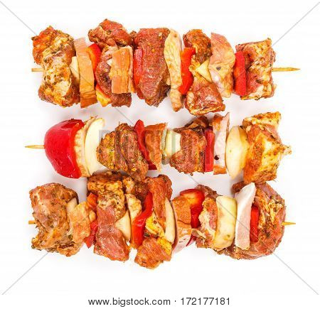Marinated Pork And Ham Kebab Sticks