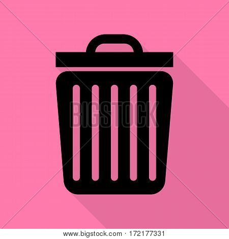 Trash sign illustration. Black icon with flat style shadow path on pink background.
