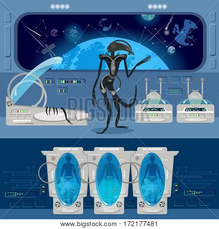 Alien monster in a spaceship. Astronauts in cryogenic camera interior of the interstellar ship. Scary alien from outer space attacks astronauts