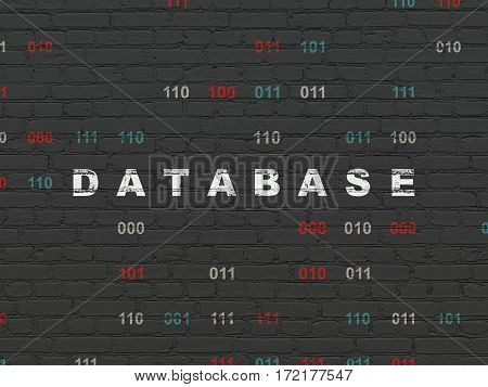 Software concept: Painted white text Database on Black Brick wall background with Binary Code