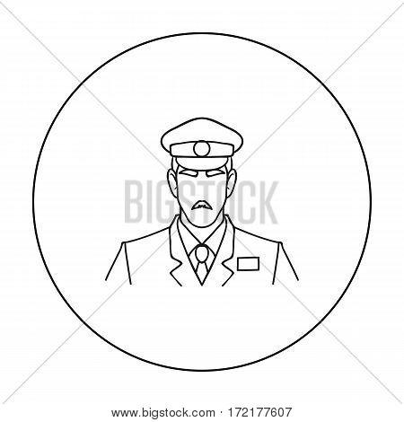 Museum security guard icon in outline style isolated on white background. Museum symbol vector illustration.
