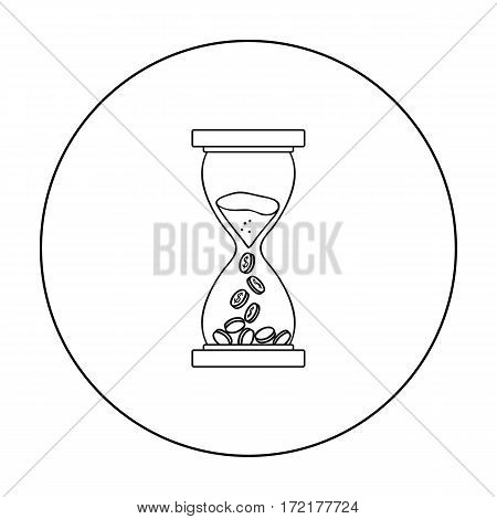 Time Is Money icon in outline style isolated on white background. Money and finance symbol vector illustration.