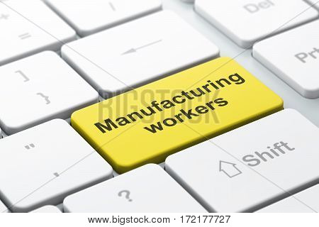 Manufacuring concept: computer keyboard with word Manufacturing Workers, selected focus on enter button background, 3D rendering