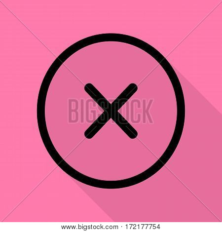 Cross sign illustration. Black icon with flat style shadow path on pink background.