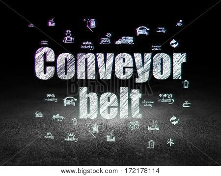 Manufacuring concept: Glowing text Conveyor Belt,  Hand Drawn Industry Icons in grunge dark room with Dirty Floor, black background