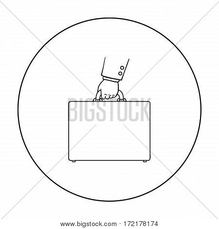 Briefcase icon in outline style isolated on white background. Money and finance symbol vector illustration.