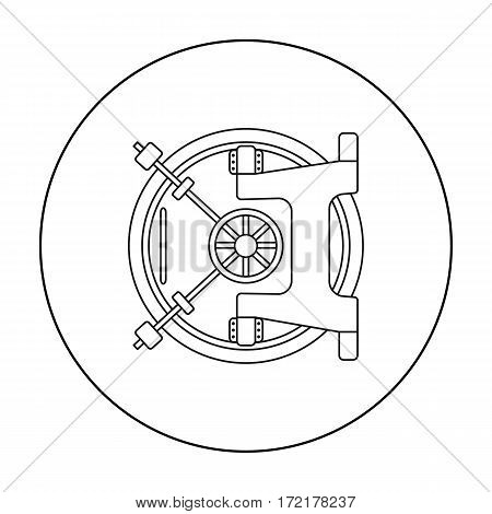 Bank vault icon in outline style isolated on white background. Money and finance symbol vector illustration.