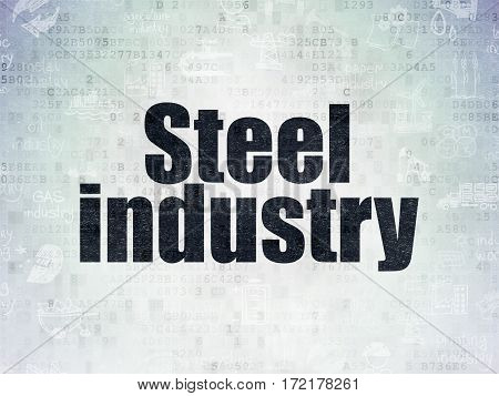 Industry concept: Painted black text Steel Industry on Digital Data Paper background with   Hand Drawn Industry Icons