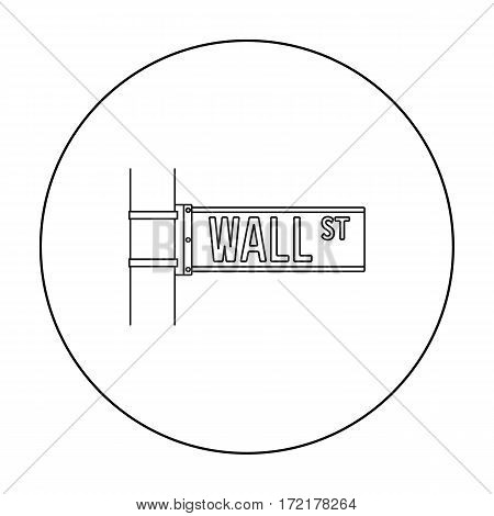 Wall Street sign icon in outline style isolated on white background. Money and finance symbol vector illustration.
