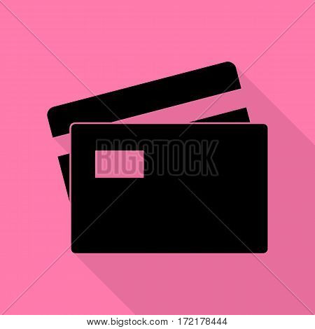 Credit Card sign. Black icon with flat style shadow path on pink background.