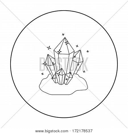 Crystals icon in outline style isolated on white background. Mine symbol vector illustration.