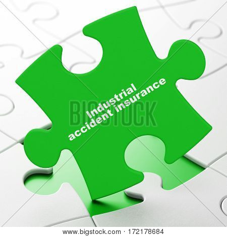 Insurance concept: Industrial Accident Insurance on Green puzzle pieces background, 3D rendering