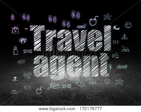 Travel concept: Glowing text Travel Agent,  Hand Drawn Vacation Icons in grunge dark room with Dirty Floor, black background
