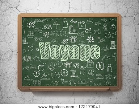 Tourism concept: Chalk Green text Voyage on School board background with  Hand Drawn Vacation Icons, 3D Rendering