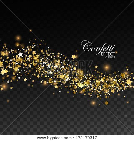 Glittering golden stream of paillettes, sparks, glitters and stars. Christmas ornament. Vector illustration. Holiday confetti particles. Light glowing burst effect. Glamour fashion illustration