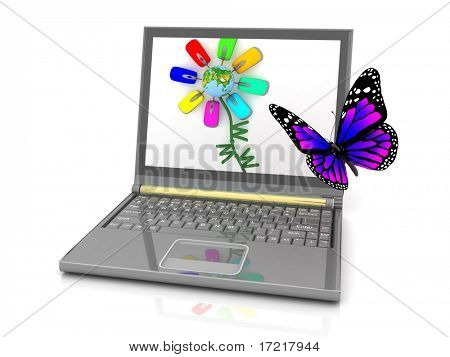The butterfly flying to an attractive picture on the laptop screen