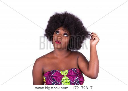 Portrait Of A Beautiful African American Woman With An Afro Haircut