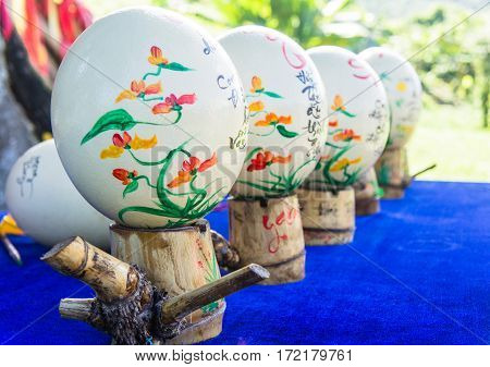 Gift Shop. Painted Ostrich Eggs. Asia, Vietnam. Wishes For Eggs.
