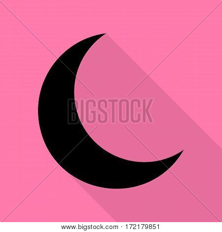 Moon sign illustration. Black icon with flat style shadow path on pink background.
